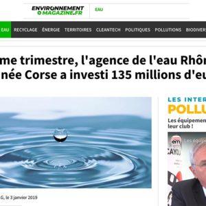 Au 3ème trimestre, l'agence de l'eau Rhône-Méditerranée Corse a investi 135 millions d'euros