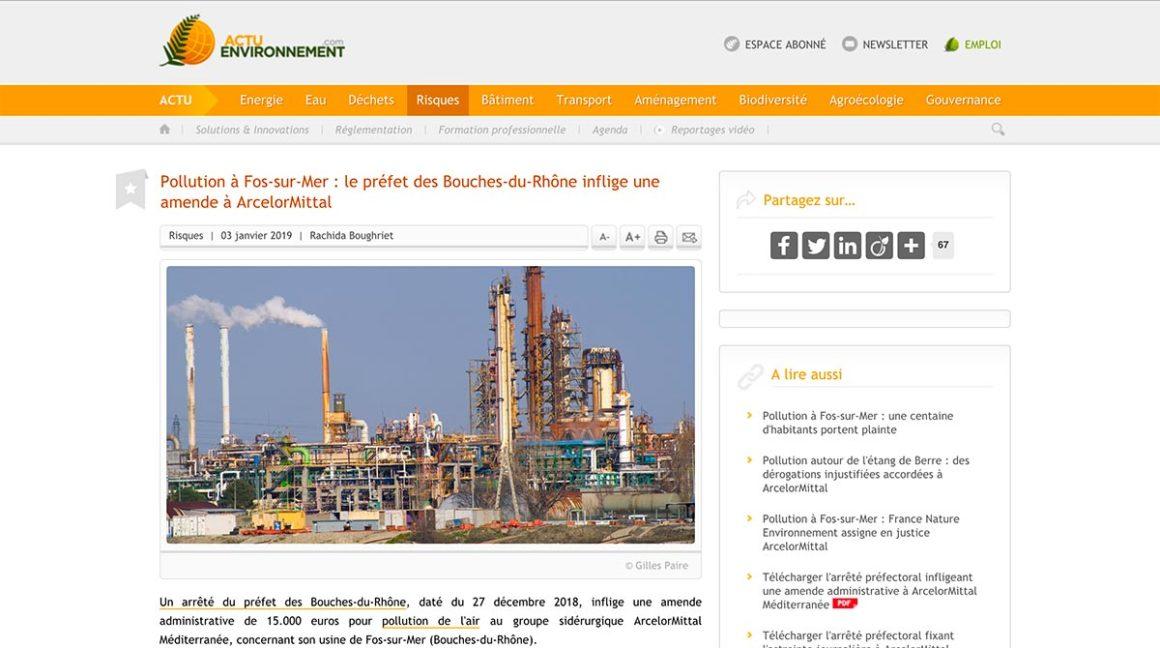Pollution à Fos-sur-Mer : le préfet des Bouches-du-Rhône inflige une amende à ArcelorMittal